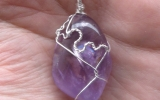 Ametrine pendant wire wrapped in sterling silver & silver necklace