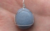 Angelite pendant wire wrapped in sterling silver