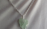 Raw aquamarine crystal pendant wire wrapped in sterling silver & silver necklace