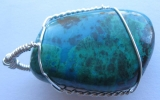 Chrysocolla pendant wire wrapped in sterling silver