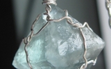 Raw fluorite octahedron crystal pendant wire wrapped in sterling silver & silver necklace