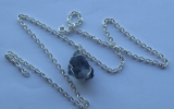 Raw fluorite crystal pendant wire wrapped in sterling silver & silver necklace