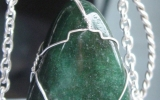 Fuchsite pendant wire wrapped in sterling silver & silver necklace