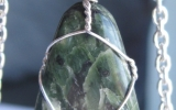 Jasper pendant wire wrapped in sterling silver & silver necklace