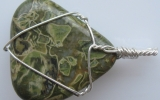 Jasper pendant wire wrapped in sterling silver