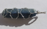 Kyanite pendant wire wrapped in sterling silver