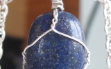 Lapis lazuli stone pendant wire wrapped in sterling silver & silver necklace