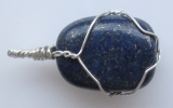 Lapis lazuli stone pendant wire wrapped in sterling silver