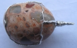Leopardskin jasper pendant wire wrapped in sterling silver