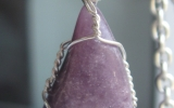 Lepidolite pendant wire wrapped in sterling silver & silver necklace
