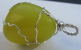 Lizardite pendant wire wrapped in sterling silver