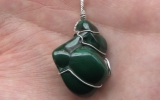 Malachite pendant wire wrapped in sterling silver