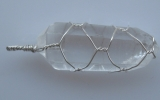 Quartz pendant wire wrapped in sterling silver
