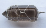 Smoky quartz pendant wire wrapped in sterling silver