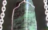 Zoisite pendant wire wrapped in sterling silver & silver necklace