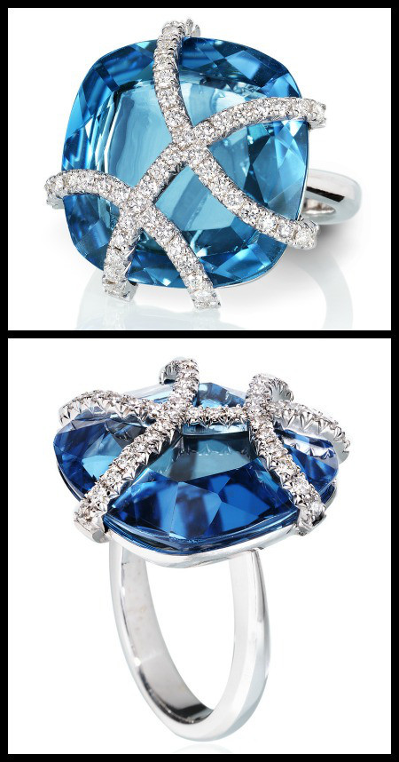 18kt white gold blue topaz and white diamond pavè.