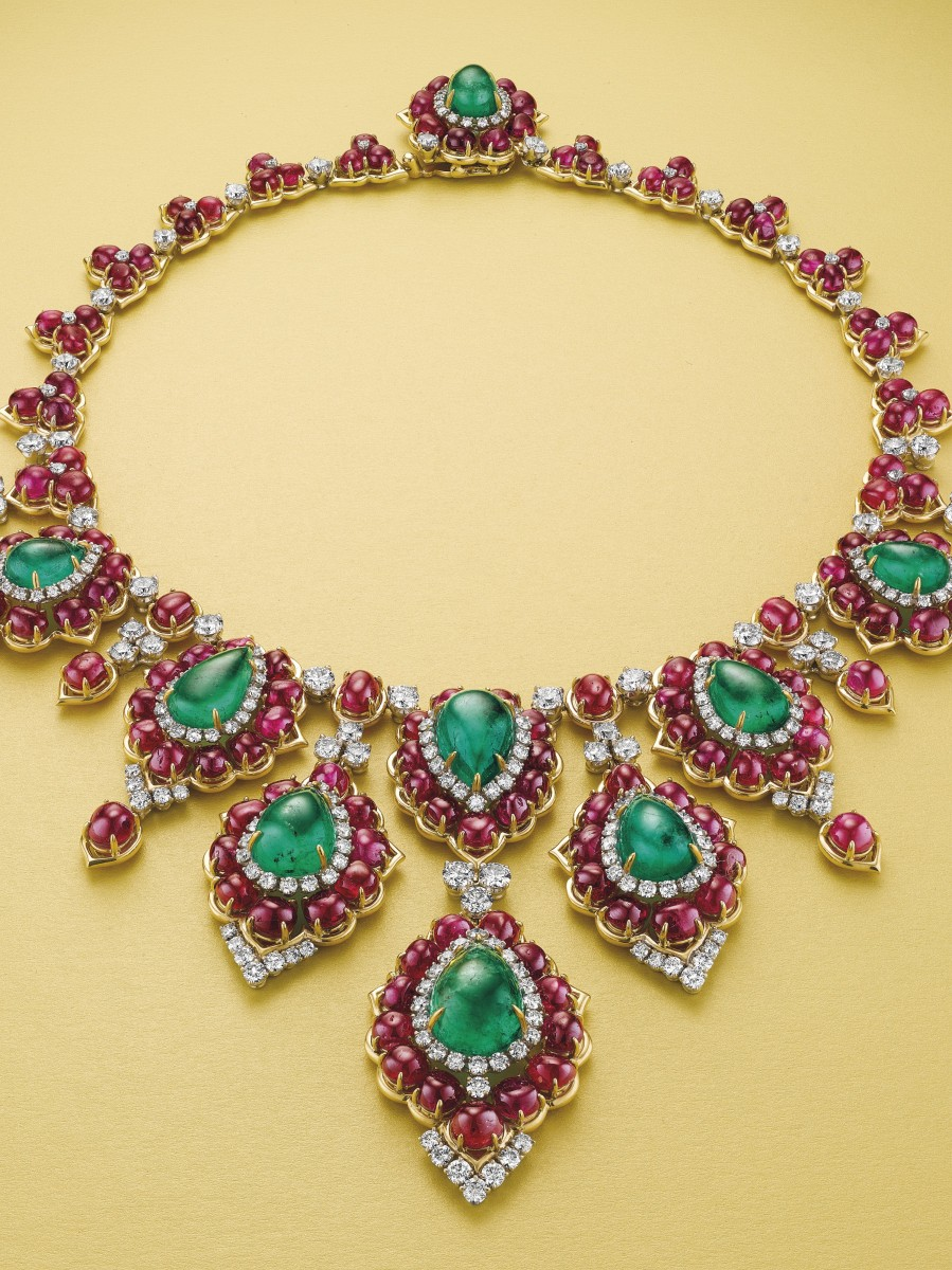 Bulgari emerald, ruby and diamond necklace