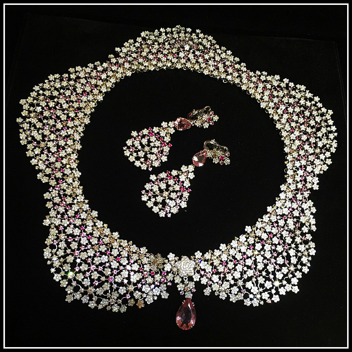 Diamond and pink gemstone collar necklace by Pasquale Bruni
