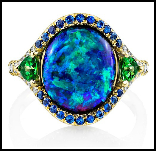 Gorgeous black opal ring