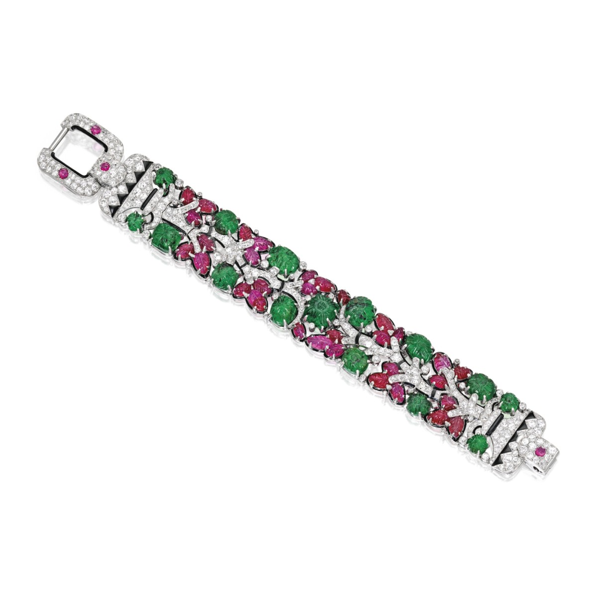 Platinum, Emerald, Ruby, Diamond and Enamel 'Tutti Frutti' Bracelet, Cartier, New York, circa 1928