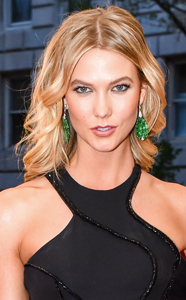 Karlie Kloss in Fred Leighton carved jade and diamond earrings