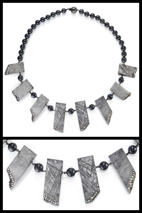 Rachel-Sarc-meteorite-necklace-with-diamond-accents-and-Andamooka-opal-beads-full-view-and-detail-shot.