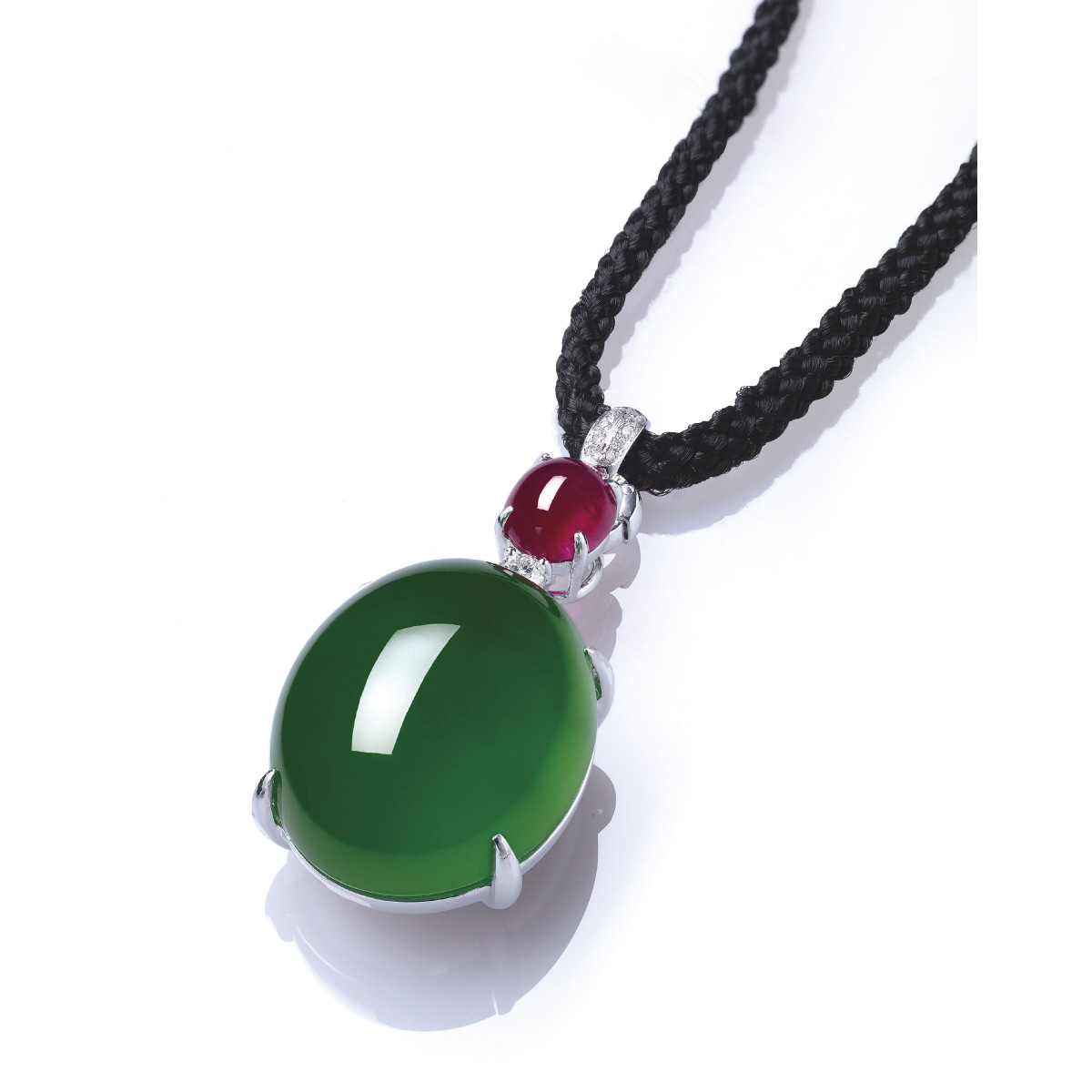 Jadeite, ruby and diamond pendant necklace